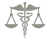 Caduceus and scales of justice